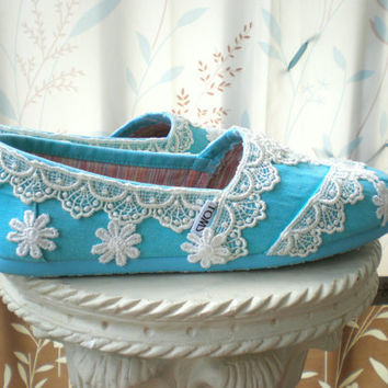 Custom TOMS  Wedding TOMS  Size 10  The Julia by TheCrystalSlipper
