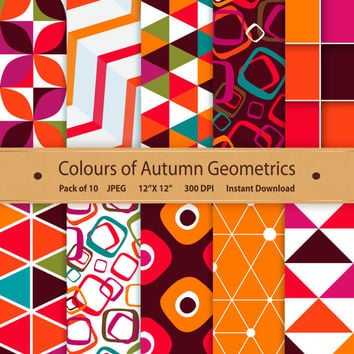 Autumn Geometric Paper Colours of Autumn Digital Scrapbooking Printable Geometric Background Instant Download Graphics Art Purple Orange Red