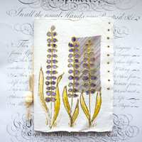 Purple flowers Journal, pocket book or notebook with lined pages with original mixed media cover