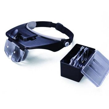 Headband Magnifier Visor Glasses LED Light 4 Lens
