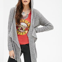 FOREVER 21 Draped Open-Front Hooded Cardigan Grey/Black