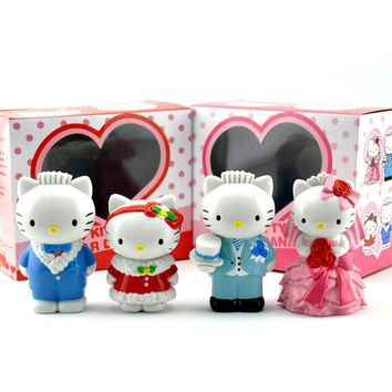 Hello Kitty 2pcs/set Christmas Ver. Action Figures Wedding Dress Ver. Kitty Doll PVC figure Toys Brinquedos Anime 8-9CM