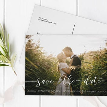 Calligraphy Photo Save the Date Postcard, Printable Photo Save Date Postcard, Custom Save the Dates Photo Card, Editable PDF, DIY You Print