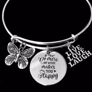 Live Love Laugh Jewelry Expandable Charm Bracelet Do More of What Makes Your Happy Silver Adjustable Bangle One Size Fits All Gift Butterfly