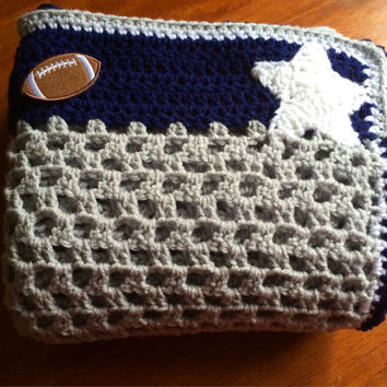 Crochet Baby Blanket Afghan Throw Dallas Cowboys Theme Stars and Football