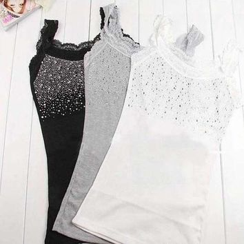 DCC3W Trendy Lace Vest Girl Women's Rhinestone Sequin Lace Tank Top Sling Camisole Cami Vest Slim 3 colors