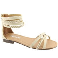 """Tikki"" Braided Ankle and Toe Straps Flat Sandals - Beige"