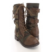 Taupe Canvas Camouflage Printed Boots