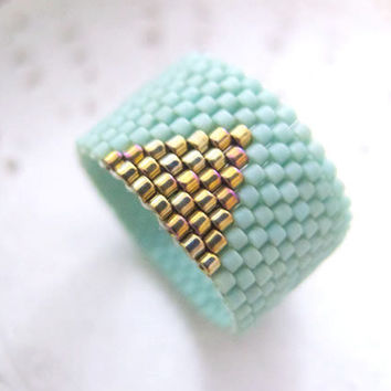 Mint Ring Beaded Band with Gold Triangle by JeannieRichard on Etsy