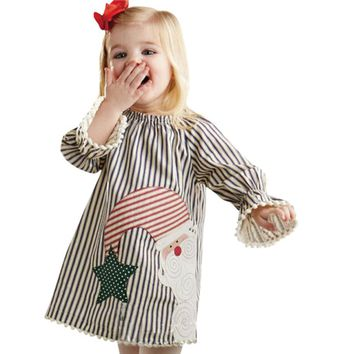 Boutique Girls Vintage Striped Christmas Dress
