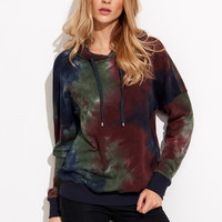 Multicolor Tie Dye Print Drop Shoulder Hoodie | MakeMeChic.COM