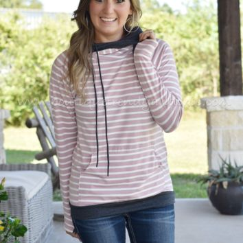 STRIPED DOUBLE HOODIE IN DUSTY PINK