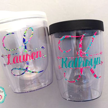 Monogram Wine Tumbler, Monogram Wine Glass, Personalized Wine Tumbler, Bridesmaid Gifts, Monogram Tumbler, Wine Glasses Personalized