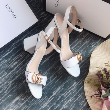 Gucci GG Women White Leather Mid-heel Sandals - Best Deal Online