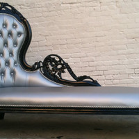 Silver Grey Vinyl & Black Wooded Frame French Chaise Lounge Sofa Vintage Hollywood Regency Glamor Loveseat Queen Throne Modern Accents