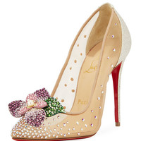 Christian Louboutin Feerica Crystal-Embellished Red Sole Pump, White