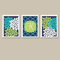Navy Blue Lime Green Turquoise Monogram Flower Burst Letter Initial Set of 3 Prints Quatrefoil WALL Decor Abstract ART Bedroom NURSERY