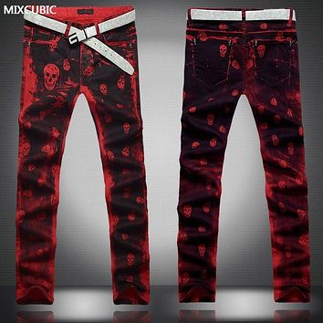 MIXCUBIC fashion personality ink splashes skull printed jeans men casual slim red skull printing jeans men red pants,size 28-36