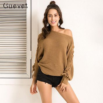 Gaovot 2017 Winter Women Sweater Series Autumn Fashion Batwing Sleeve Lace Up Thick Sweaters Off Shoulder Jumper SA253705