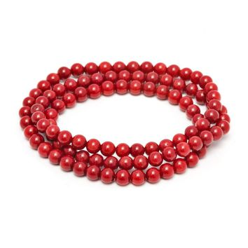 6mm Stunning Stackable Round Red Coral Bead Stretchy Bracelet / Necklace 20""