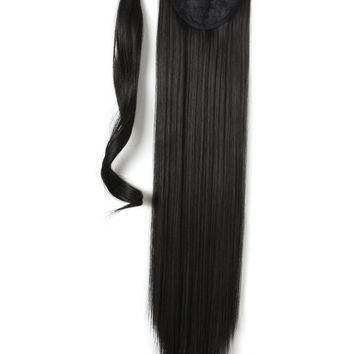 """24"""" Long Straight Wrap Around Synthetic Hair Ponytail Extension 130g (2#-Darkest brown)"""