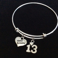 Teenager Happy Birthday 13th Expandable Charm Bracelet Adjustable Bangle Trendy Gift (Other Numbers Available)