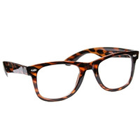 Hipster Thick Frame Clear Lense Faux Glasses - Black or Tortoise