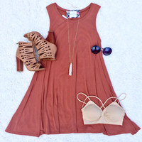 Swing Tee Shirt Dress in Rust