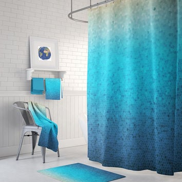 Sea Glass Mosaic Shower Curtain Set - blue ombre mosaic style coastal decor shower curtain, teal, bathroom ideas