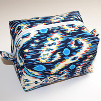 Blue and White Blurred Cosmetic Makeup Bag---Free Shipping!