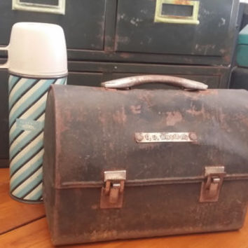 Vintage Industrial Metal Lunchbox with Thermos Great Decor Fathers Day Best Man Groomsman Guy Gift