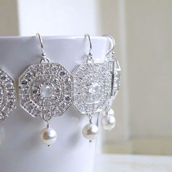 Bridal Earrings White Pearl Octagon Cubic Zirconia Silver Chandelier Earrings Set of 3 pairs Wedding Jewelry