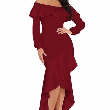 Burgundy Lantern Sleeve Asymmetric Ruffle Hem Evening Dress