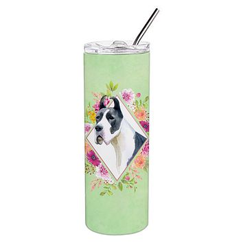 Great Dane Green Flowers Double Walled Stainless Steel 20 oz Skinny Tumbler CK4310TBL20