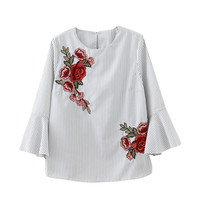 Flower embroidery patch blouse