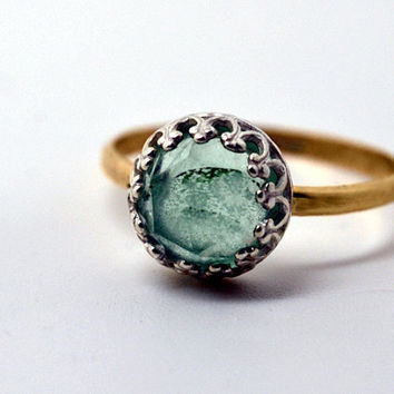 Fluorite Ring, 14K Gold Fill Band, Handforged Cocktail Ring, Green Gemstone, Green and Gold Engagement Ring