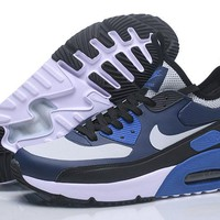 "Nike Air Max 90 Ultra Mid Winter ""Black&White&Blue"" Men Running Shoes Sneaker 924458-300-002"