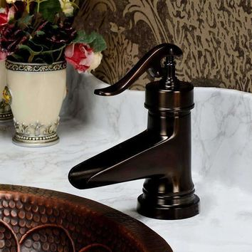 Classic Europe Style Single Hole Oil Rubbed Bronze Waterfall Bathroom Basin Faucet Single Handle  Mixer Tap water taps