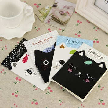 1pcs Cute Kawaii Cat Filofax Notepad Notebook Mini Stationery Diary Students School Supplies for Kids Gift