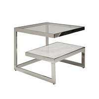 Worlds Away Beacon Two-Tier Marble and Glass Coffee Table