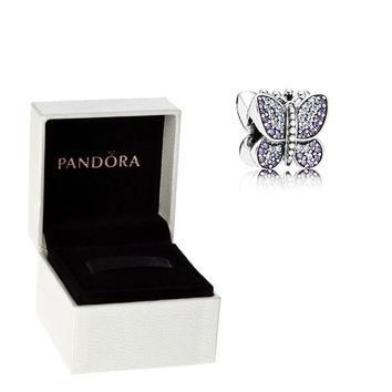Authentic Pandora S925 Sterling Silver Sparkling Butterfly CZ Charm Bead w/ Box Free S