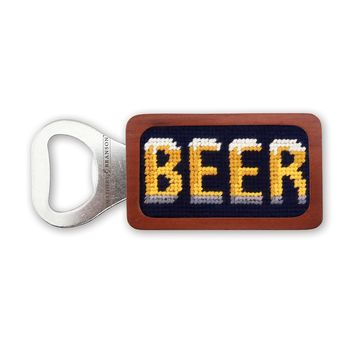 Beer Needlepoint Bottle Opener in Dark Navy by Smathers & Branson