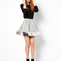 ASOS Skater Skirt with Metallic Hem