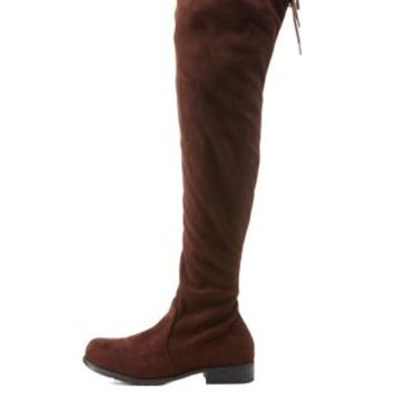 Brown Bamboo Drawstring Over-the-Knee Boots