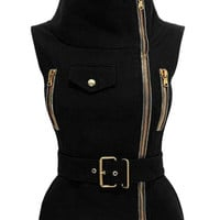 Solid Color Stand Collar Multi-Zippered Waistcoat with Belt
