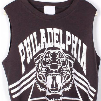 PHILADELPHIA Tiger Print Crop Tank Top