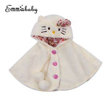 Infant Toddler Kids Baby Girls Cat Hooded Cloak Poncho Jacket Outwear Warm Coat Clothes Cute Snowsuit Lovely Baby Kid Coats