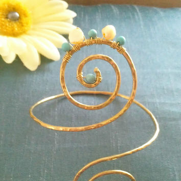 Gold Grecian Swirl Upper Arm Cuff with Turquoise and Yellow Pearls, Arm Band,  Armlet
