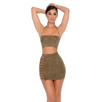 Straight Laced Suede Tie Up Two Piece in Khaki