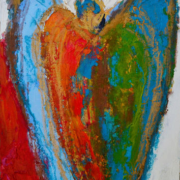 Original Abstract Art - Angel Painting  8 x 10 Wood Panel Ready to Hang or Available Framed Colorful Palette Knife Oil Painting